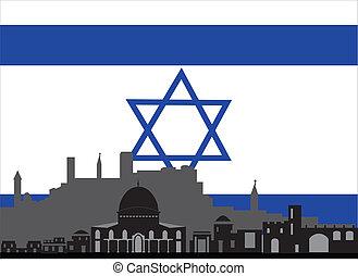 israël, étoile, drapeau, da