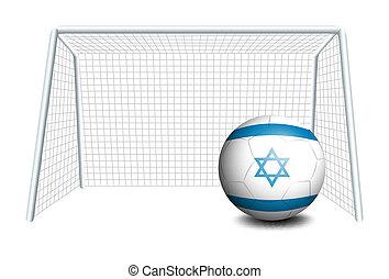 israël, balle, drapeau, filet