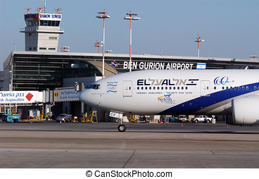 israël, ben, aviv, aéroport, international, téléphone,...