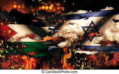 israël, brûler, déchiré, drapeau, palestine, international, guerre, conflit, 3d