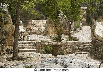 israël, christ, emmaus, marché, jésus, endroit, où