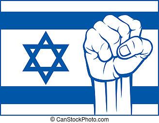 israël, (flag, israel), poing