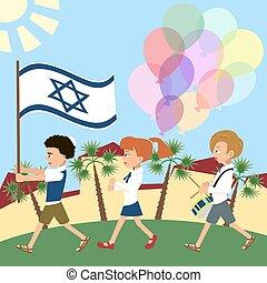 israël, gosses, drapeau, marcher