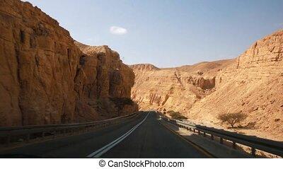 israël, grand, cratère, croisement, désert, route, negev