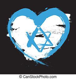 israël, grunge, drapeau