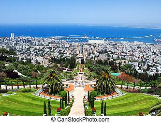 israël, haifa, tuinen, bahai