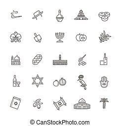 israël, icônes, vecteur, voyage, vacances, set., pays