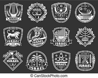 israël, judaïsme, étoile, menorah., lion, david, insignes