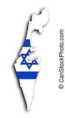 israël, kaart, met, de, vlag, binnen