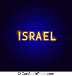 israël, néon, texte