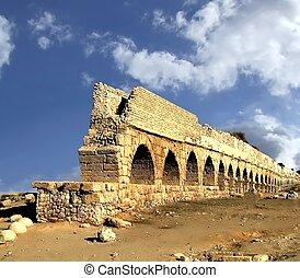 israël, oud, aqueduct.