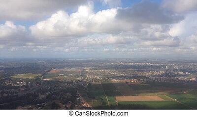 israël, partiellement, sur, nuageux, vol, jour