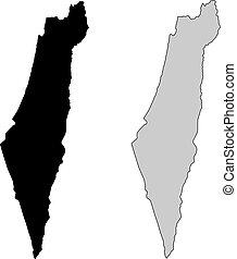 israël, projection., map., noir, white., mercator