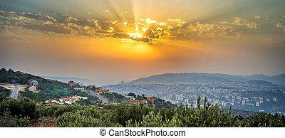 israël, regard, panoramique, coucher soleil, pendant, ...