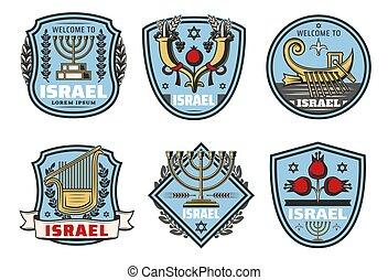 israël, reizen, oriëntatiepunt, vector, symbolen