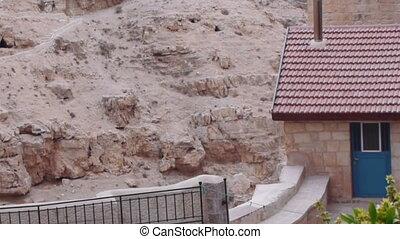 israël, savas, monastère, cellules, jérusalem, saint, rocher, monks', vallée, kidron