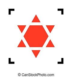 israël, ster, schild, magen, isolated., hoeken, symbool, brandpunt, david, achtergrond., inverted., black , vector., witte , inverse., binnen, rood, pictogram