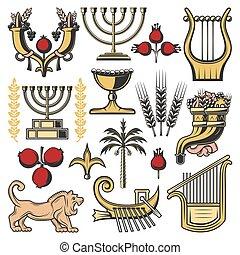 israël, symboles, de, judaïsme, religion, culture juive