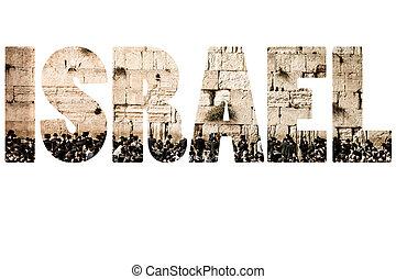 israël, symbols., woord, op, nationale