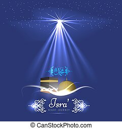 Isra and Miraj holy nights in Islamic religion. Vector...