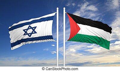 israelí, banderas, palestino