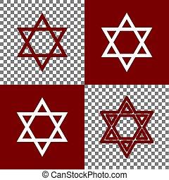 israel., アイコン, シンボル, star., magen デイヴィッド, バックグラウンド。, 板, vector., bordo, チェス, 白いライン, 透明, 保護