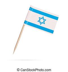 israel., 隔離された, ミニチュア, 旗, 背景, 白