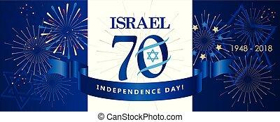 Israel 70 anniversary, Independence Day, 2018, calligraphy text festive greeting poster vector illustration. Jerusalem festival, Israeli flag
