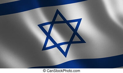 israel, abstrakt, winkende , hintergrund., fahne, 3d., animation., schleife