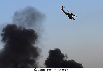 Israel Air Force - Air Show - An AH-64 Apache helicopter...