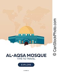 Israel. Al-Aqsa Mosque. Time to travel. Travel poster....