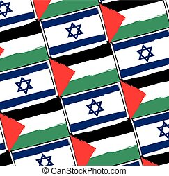 ISRAEL and PALESTINE flags or banner illustration - ISRAEL...