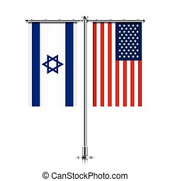 Israel and USA flags hanging together.