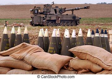 israel, artilleri, -, kår