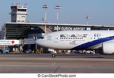 israel, ben, aviv, aeroporto, internacional, tel, gurion