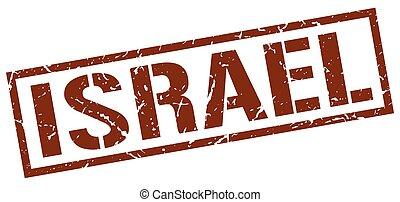 Israel brown square stamp