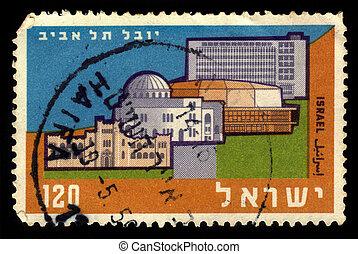 50 year anniversary of Tel Aviv - ISRAEL - CIRCA 1959: A ...