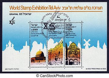 ISRAEL - CIRCA 1985: A stamp ( souvenir sheet ) printed in the Israel shows three shrines, three religions, one holy city - Jerusalem, Israel, circa 1985