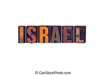 Israel Concept Isolated Letterpress Type