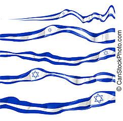 israel, conjunto, bandera, plano de fondo, blanco