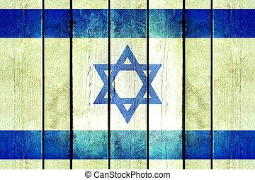 israel, de madera, grunge, flag.