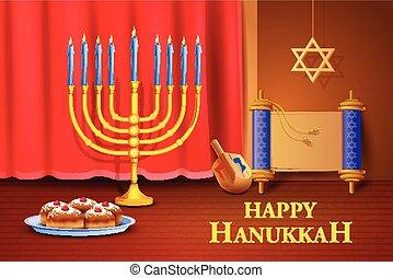 Israel festival Happy Hanukkah background - vector...