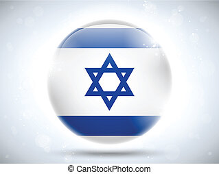 Israel Flag Glossy Button - Vector - Israel Flag Glossy...