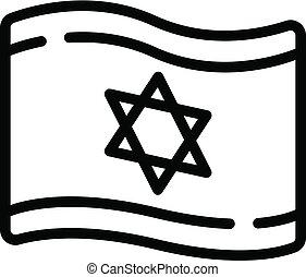 Israel flag icon, outline style