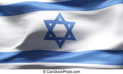 ISRAEL flag in slow motion - Creased cotton flag with...