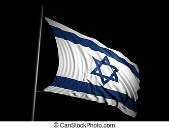 Israel flag on black background