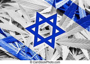 Israel Flag on cannabis background. Drug policy. ...