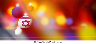 Israel flag on Christmas ball with blurred and abstract background.