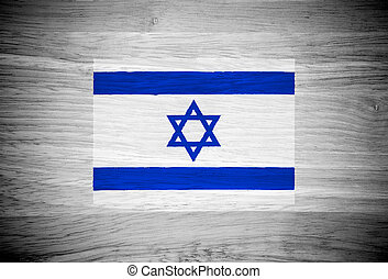 Israel flag on wood texture