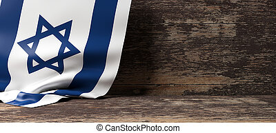 Israel flag on wooden background. 3d illustration